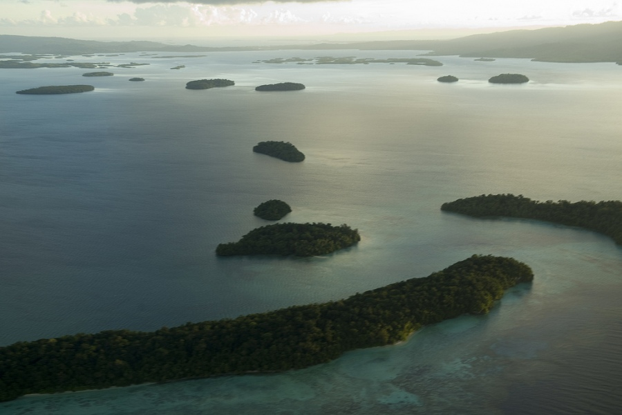 An aerial view of Marovo Lagoon in the Western Province of the Solomon Islands. Photo Credit: United Nations via Flickr Creative Commons