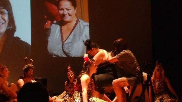 Ngarongoa Lentfer demonstrating tā moko (tattooing). Photo Credit: Genevieve Neilson
