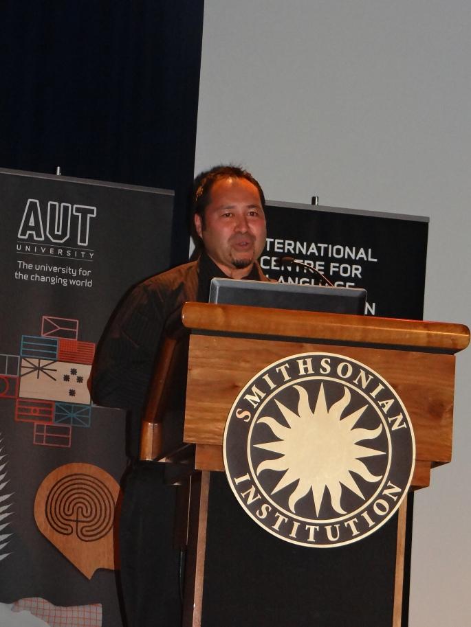 Valance Smith presenting Mana Waiata. Photo Credit: Genevieve Neilson